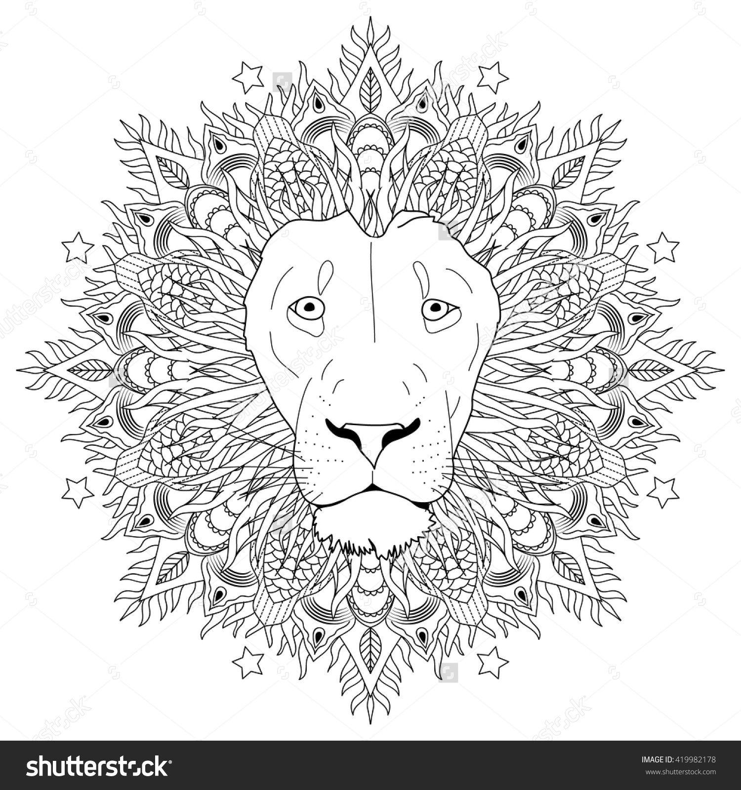 stock vector coloring page mandala lion head animal