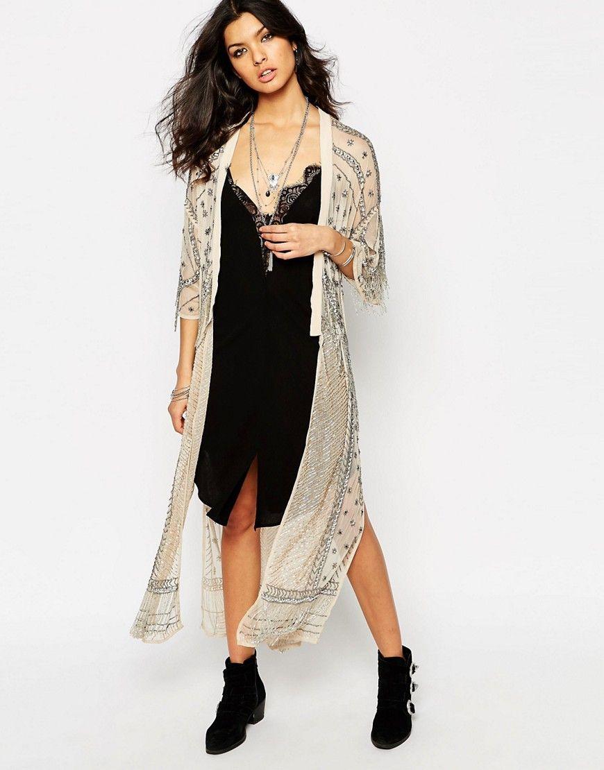 Image 1 of River Island Premium Heavily Embellished Kimono