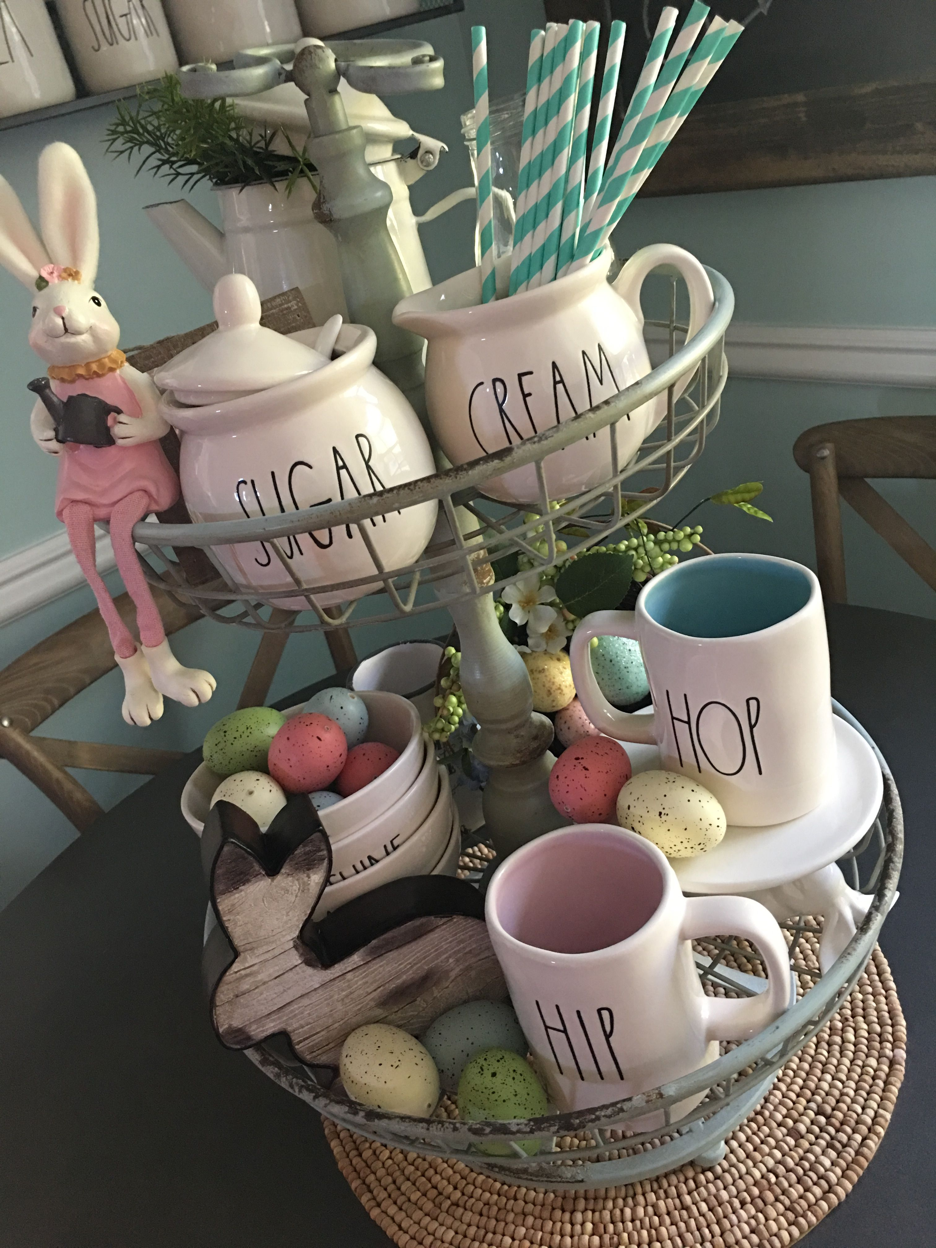 Cute Rae Dunn Easter display in 2020 Spring easter decor