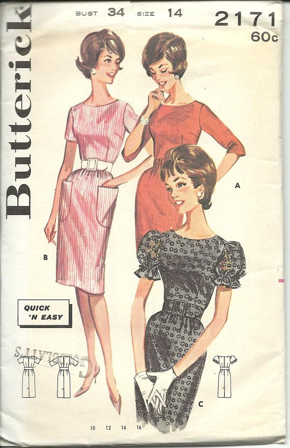 Butterick 2171 / UNCUT FF / Vintage Sewing Pattern for Dress
