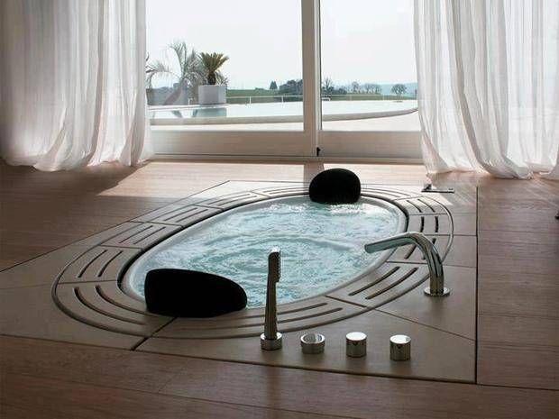 Jacuzzis y bañeras con hidromasaje en baños | Diseño de ...