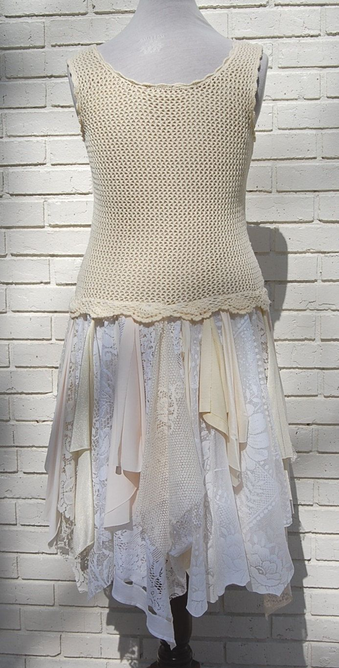 Large alternative wedding party dress prom crochet boho fairy
