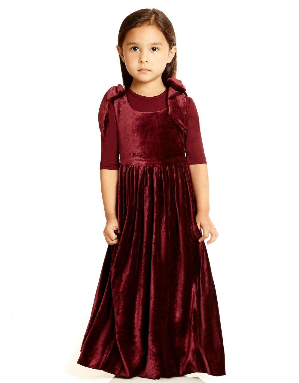 508dee0c7d71 Kids Velour Maxi Jumper with Shoulder Bows | Charming Kids Clothes ...