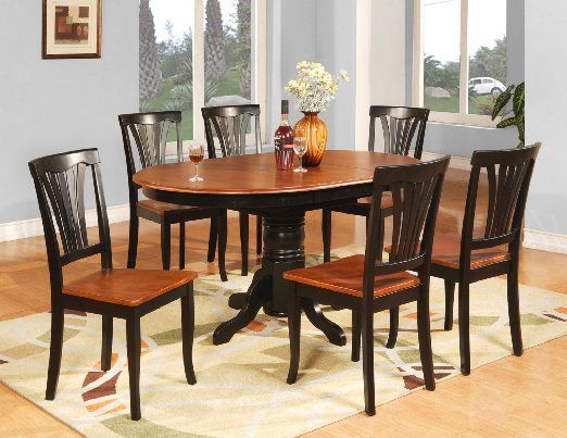 Amazon Com Avon 7pc Oval Dinette Dining Table 6 Wood Seat Chairs