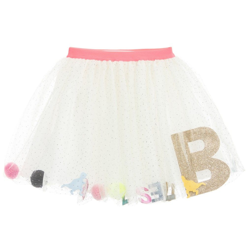 5bede80d2d44 Billieblush Ivory Tulle Skirt with Pom-Poms   Dinosaurs at ...