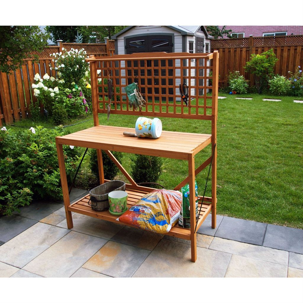 Foldable Potting Bench Home Garden Planting Station