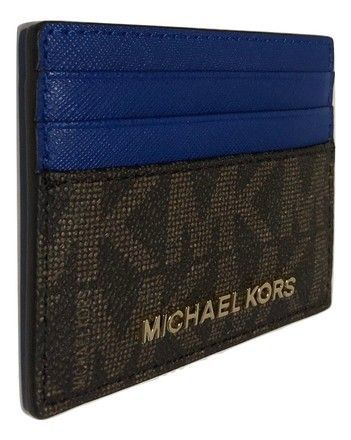 1ba70173d75ded Michael Kors Signature Mk Brown/Electric Blue Jet Set Travel Lg Card Holder  Case Brown
