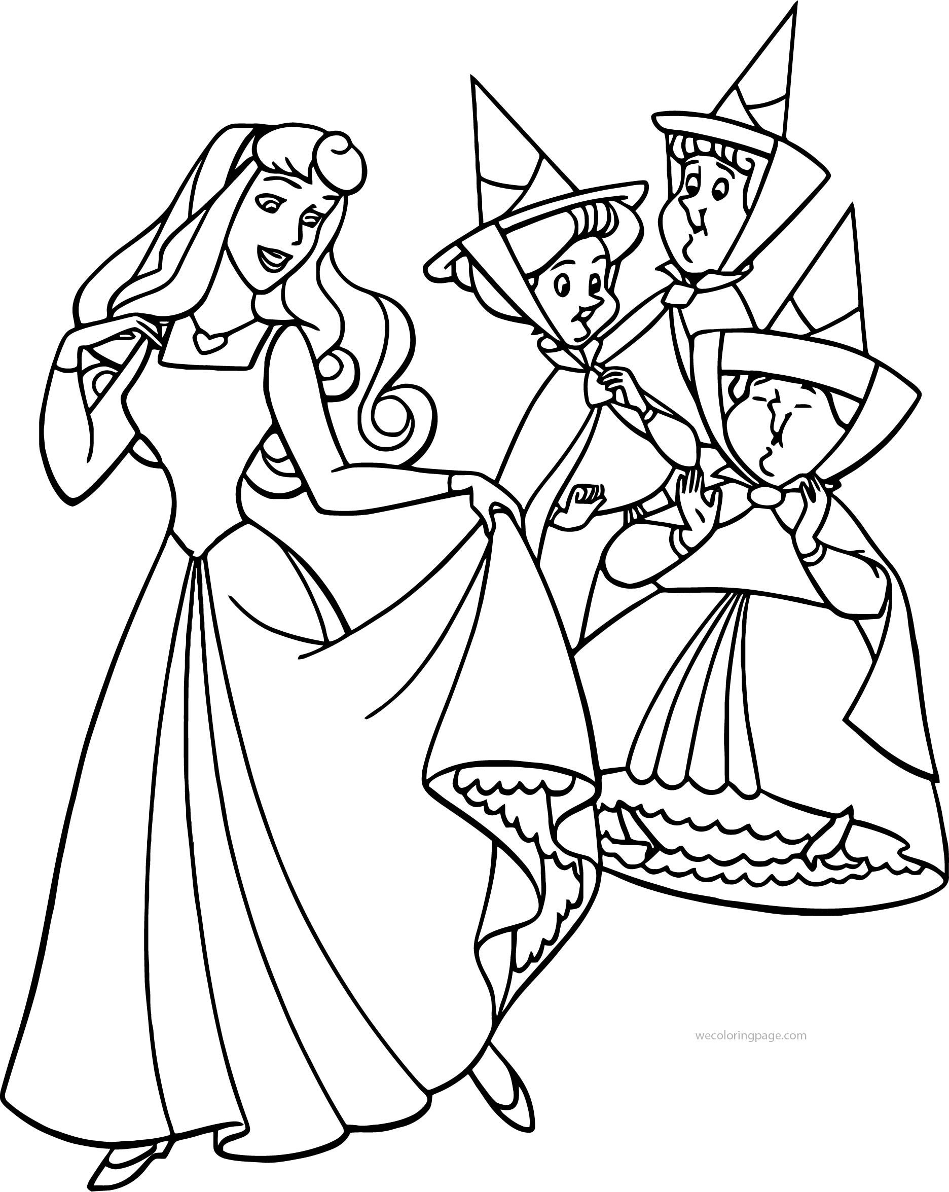 Awesome Aurora Flora Fauna And Merryweather Happy Coloring