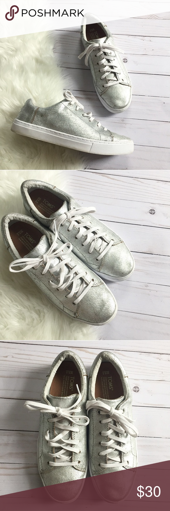 fda277daca1 Tom s Lenox Silver Sneakers - Metallic Cute Tom s Lenox style sneakers. Metallic  silver. Size 8.5. They have a distressed look to them—they were made like  ...