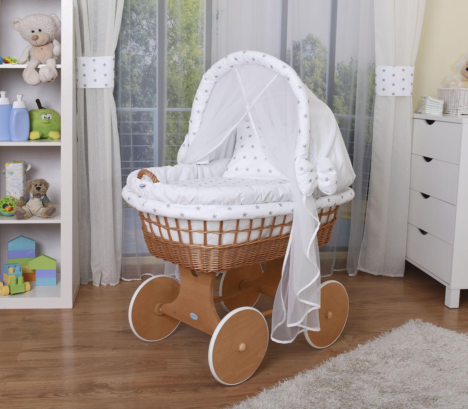Waldin carritos de bebé, cunas XXL NUEVO !!! Blanco / estrella gris ...