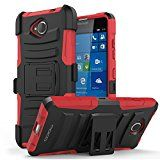 Lumia 650 Case - MoKo [Heavy Duty] Full Body Rugged Holster Cover with Swivel Belt Clip - Dual Layer Shock Resistant Microsoft Lumia 650 5.0 Inch 2016 Smartphone Case **Lifetime Warranty**, RED