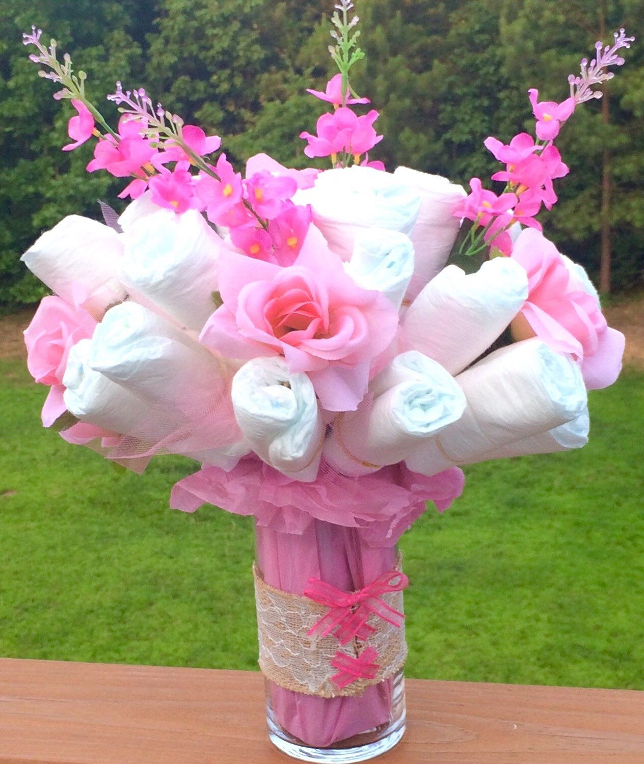 Diaper cake bouquet corset baby shower welcome