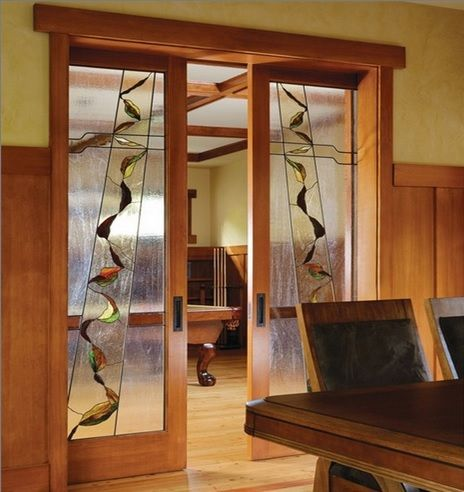 Interior stained glass sliding french doors stained for Interior sliding french doors