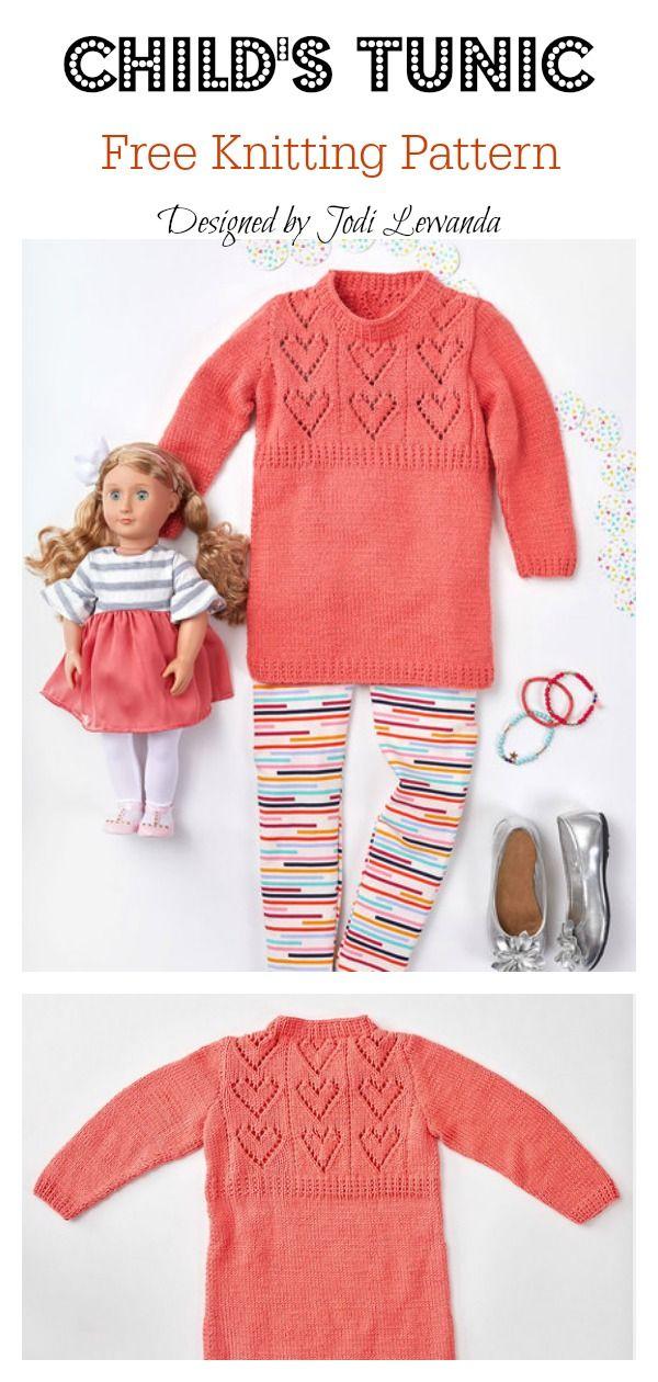 Child's Heart Yoke Tunic Free Knitting Pattern | Kids ...