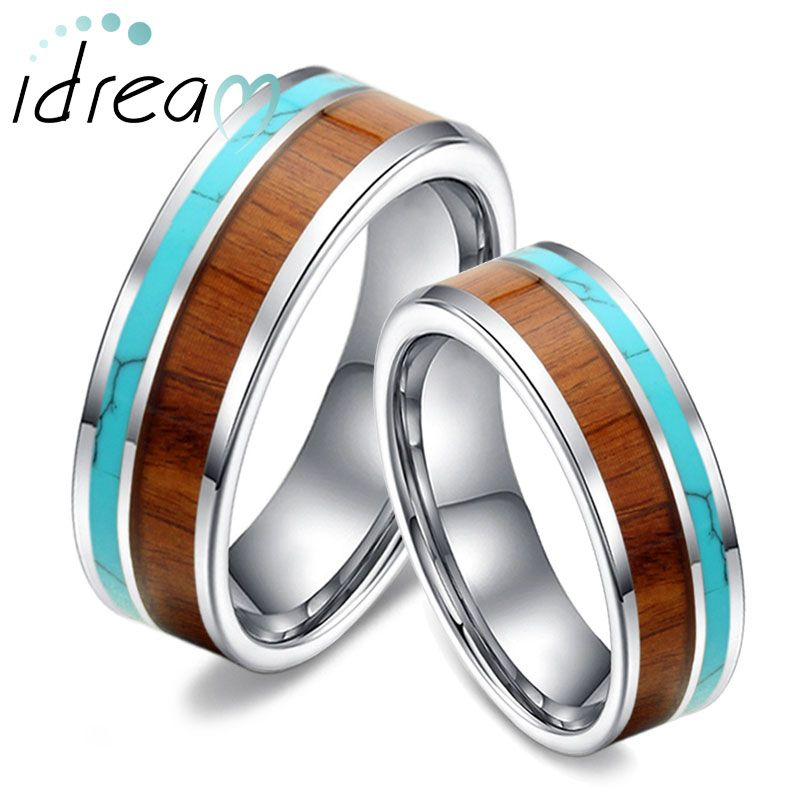 450c84415bd8a Matching Inlay Tungsten Wedding Bands Set | Things that are cool ...