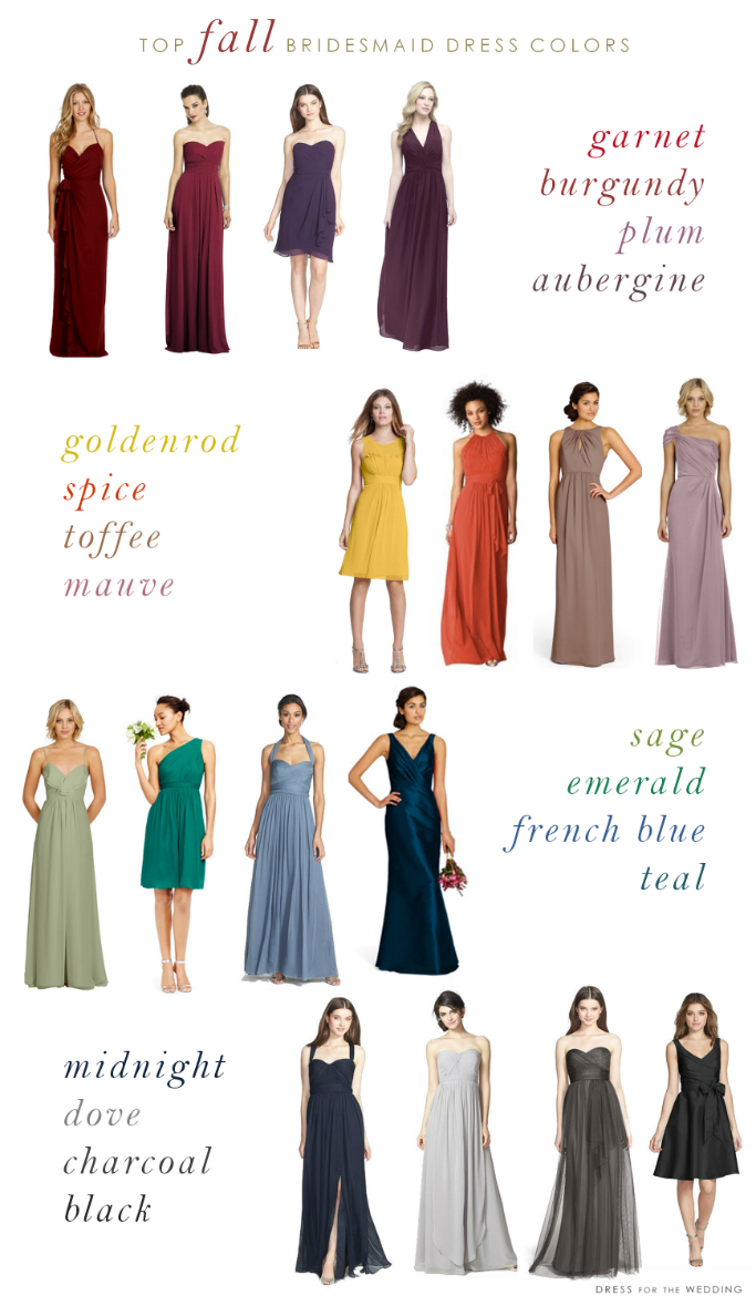 Best color dress to wear to a wedding  Top Colors for Fall Bridesmaid Dresses  Weddings Wedding and