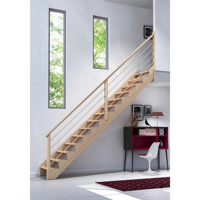 Escalier Droit Bois Hetre Soft 14 Marches L 81 9 En 2020