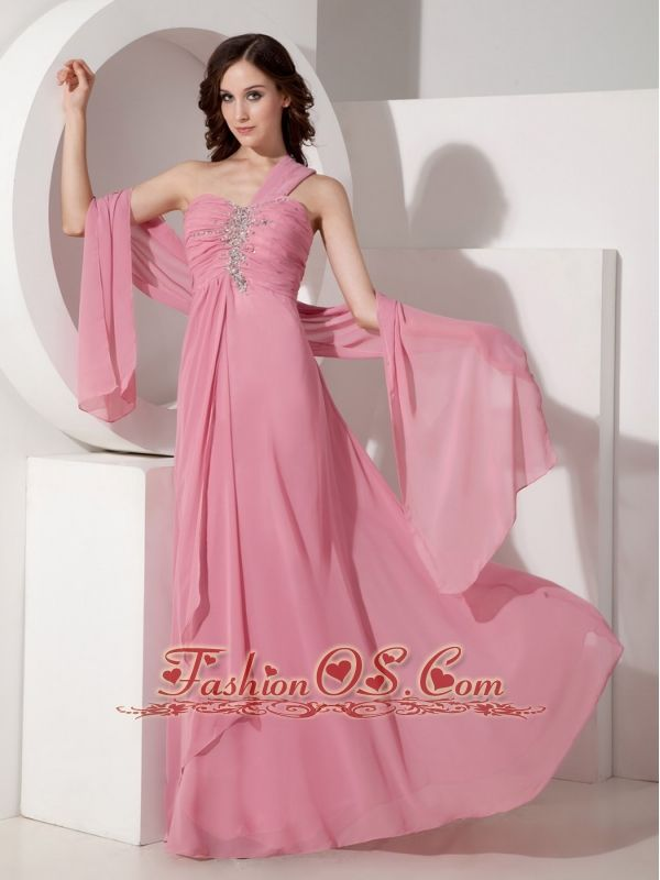 Exquisite Peach Pink Prom Dress One Shoulder http://www.fashionos ...