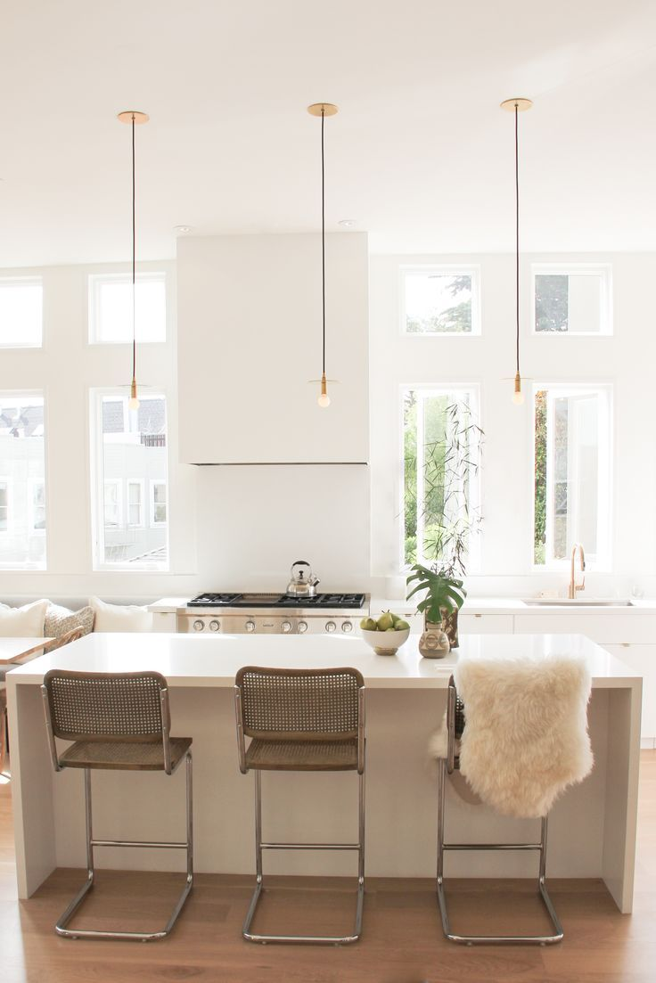 white kitchen with waterfall island. home decor and interior ...