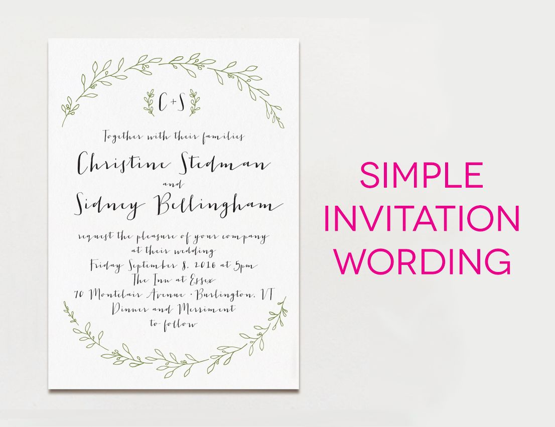 White Wedding Invitation With Black Wording And Green Leaf Borders With The Te Wedding Invitation Message Fun Wedding Invitations Informal Wedding Invitations