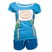 Finn meiden shortama/shirt en shorts- pyjama blauw - Merchandise televisie