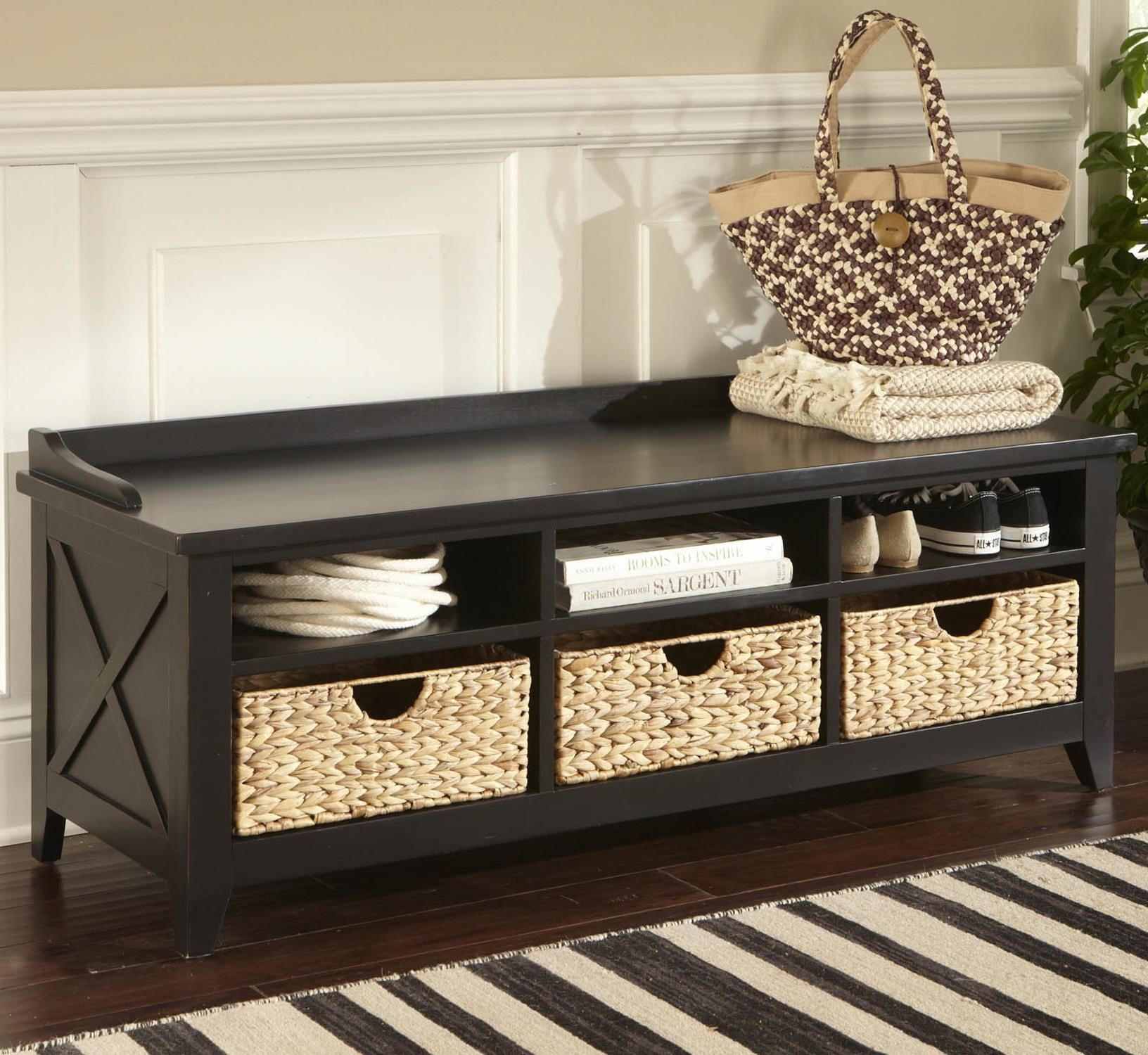 black & creme striped rug in front of black entryway bench | For the ...