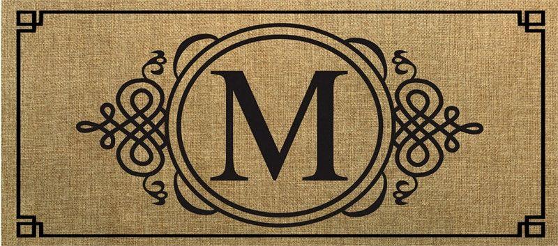Evergreen Sassafras Switch Mat  Burlap Monogram M 431021M NEW