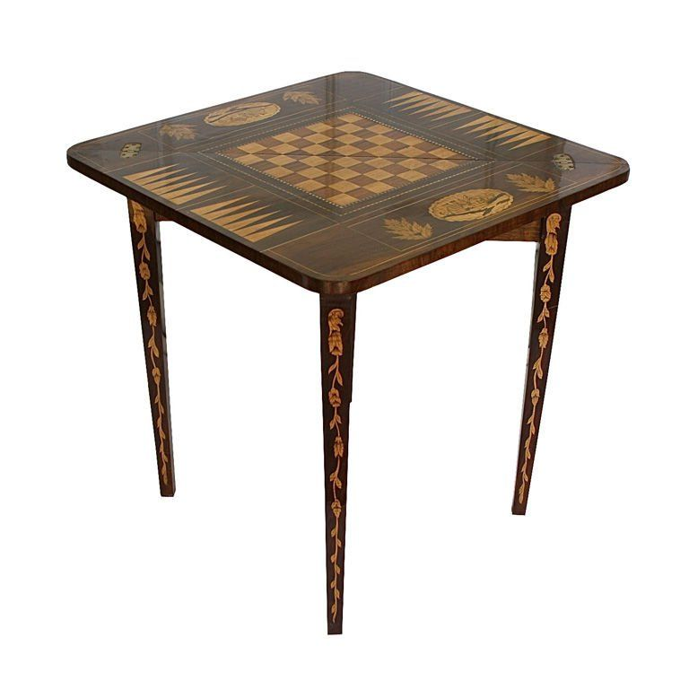Marquetry Inlaid 'Handkerchief Fold' Games or Corner Table