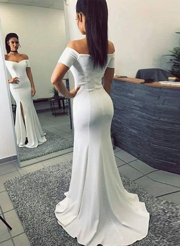a46eb66734b Simple Mermaid Off-The-Shoulder Split Front White Long Prom Dress M2626