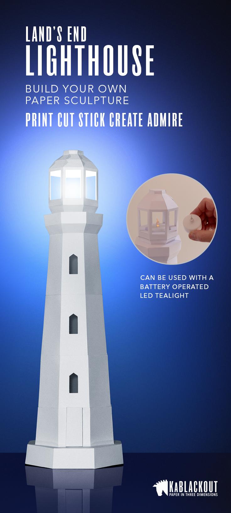 Lighthouse papercraft low poly lighthouse template diy for 3d paper lighthouse template