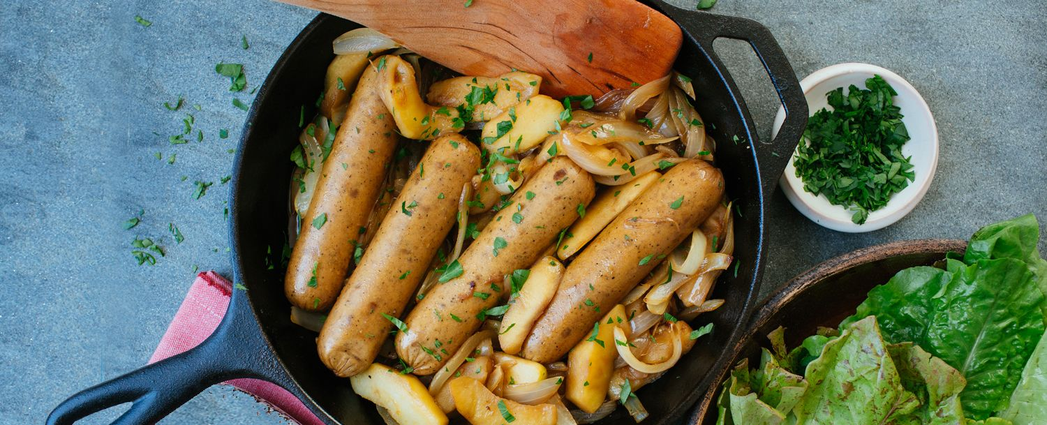 Braised Chicken Sausage With Apples And Onions Recipe Food