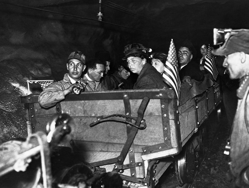 Eleanor Roosevelt visiting a coal mine in Neff, Ohio in 1935.