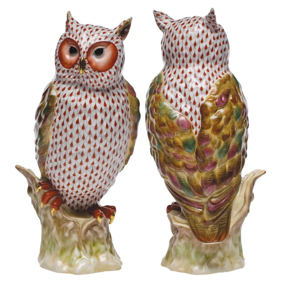 Herend Watchful Owl on Stump Hand Painted Porcelain