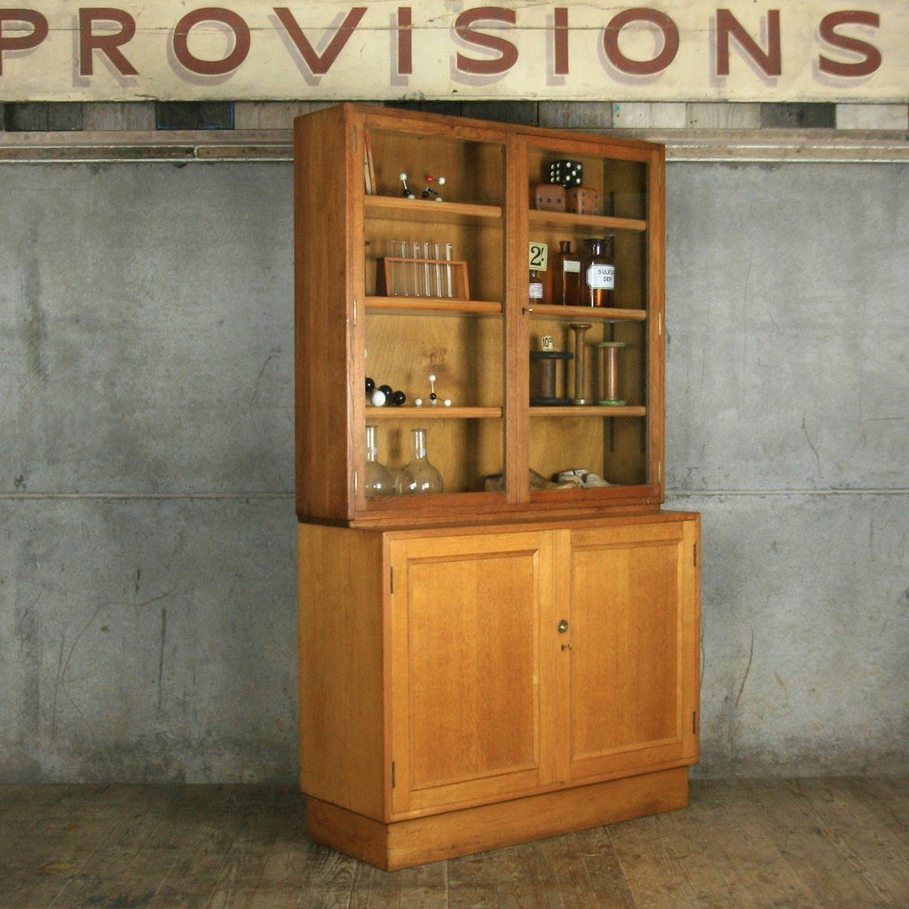 Mid century oak school laboratory cabinet mid century drinks
