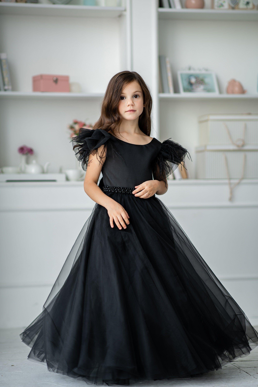 Black satin flower girl dress great gatsby style dress