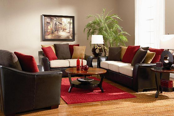 Dark Brown Red Living Room Colorful Pillows Jpg 560