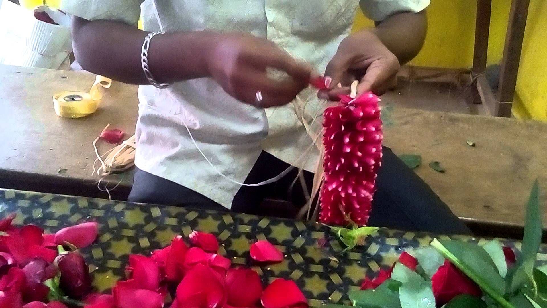 Make a rose petals garland working | Rose petals, Easy paper ...
