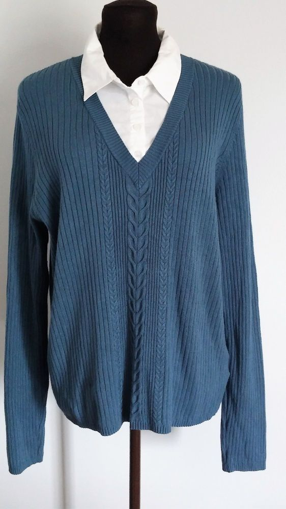East 5th Womens Sweater Shirt Combo Size Xl Blue White Longsleeve