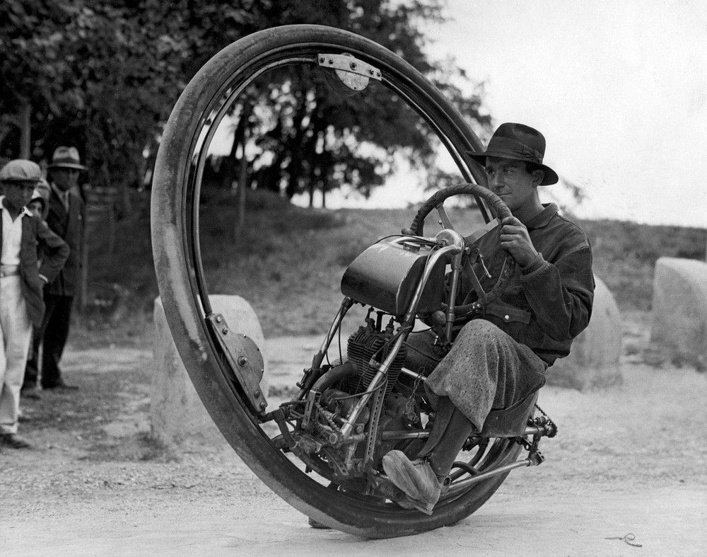 Mr. M. Goventosa of Udine, Italy, built this monowheel in 1931, and that it was capable of 150 KPH, or about 93 MPH.