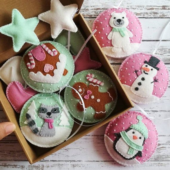 Felt Pink Mint Christmas ornaments SET, Pink ornaments, Gingerbread House, Polar bear, Penguin, Snowman Xmas ornaments - set of 6 or 9 #feltchristmasornaments