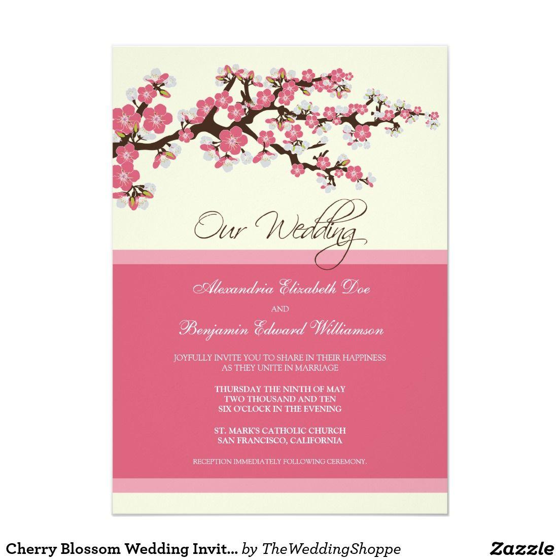 Invitación del boda de la flor de cerezo (rosa)   Cerezo, Las flores ...
