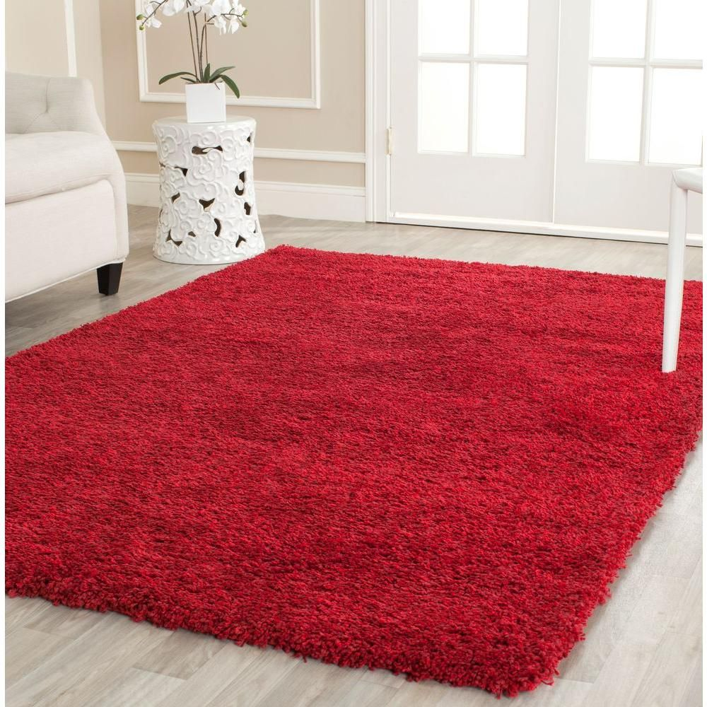Shaggy Fluffy Rug Shag Solid Red Carpet Thick Flokati Area Rugs X