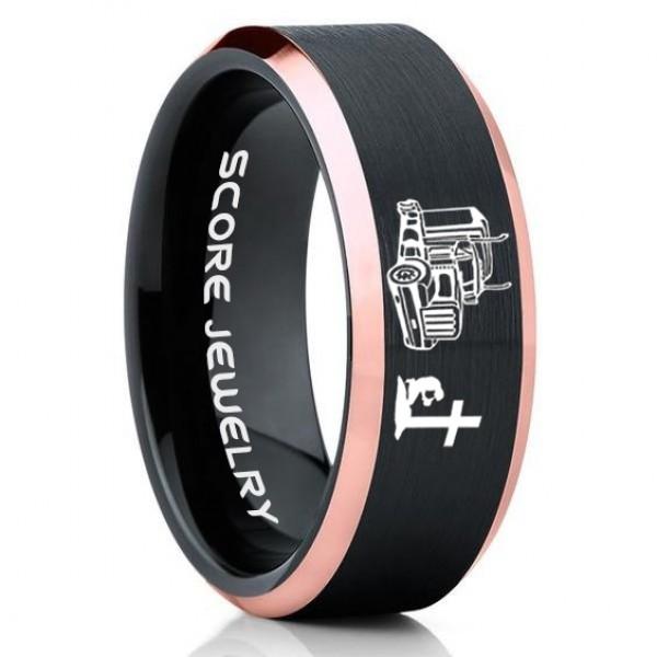 FREE SHIPPING FREE Custom Engraving 8mm Tungsten Band with Black Step Edge Brushed Finish Gallifreyan Pattern Ring 8mm Tungsten Wedding Ring