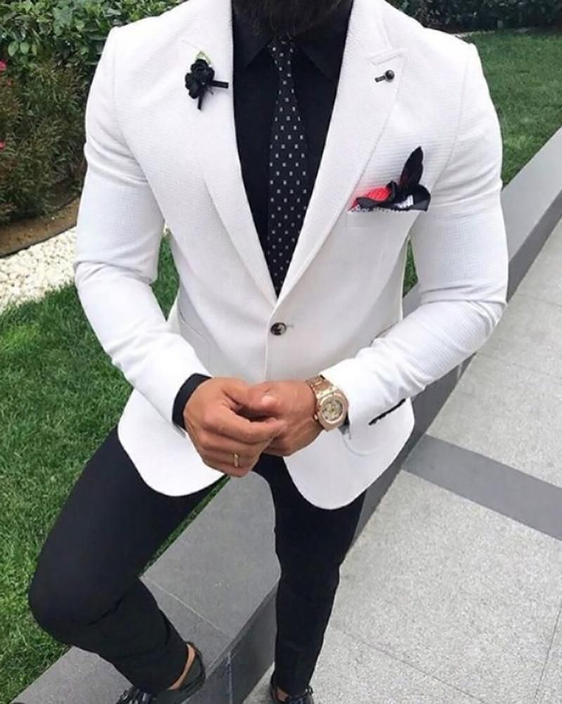 White Wedding Suit For Men Tuxedo Two Pieces 2019 Jacketpants In