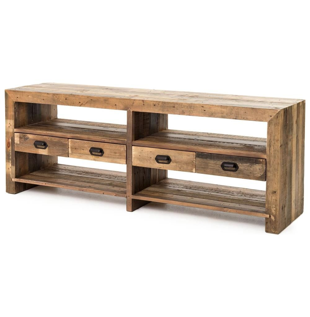 Hunter Modern Rustic Lodge Reclaimed Wood Open Media Cabinet Kathy Kuo Home