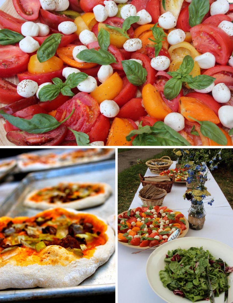 Pizza and salads wedding buffet