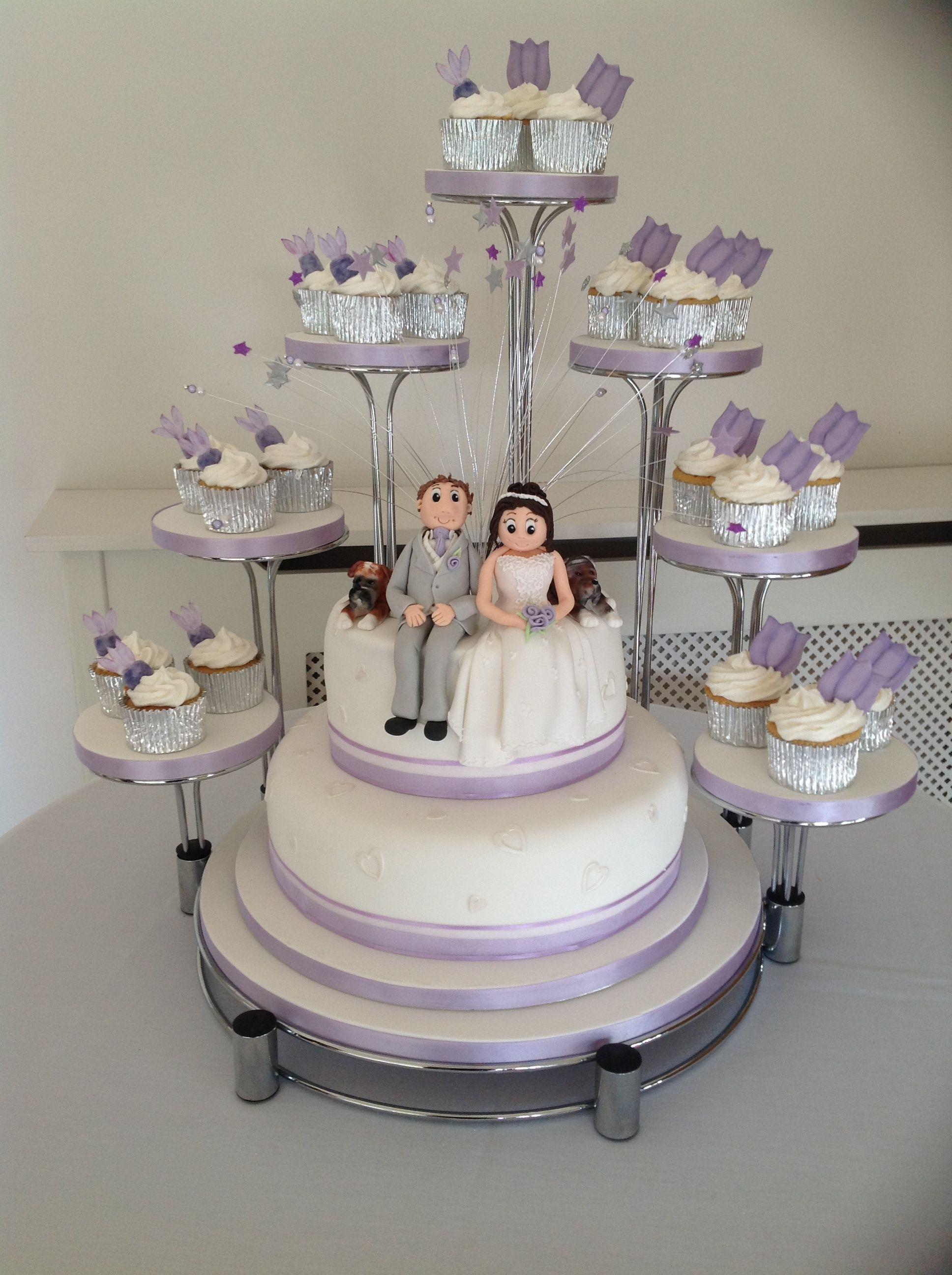 Lilac Themed Kara Design Wedding Cake Incorporating Personalised