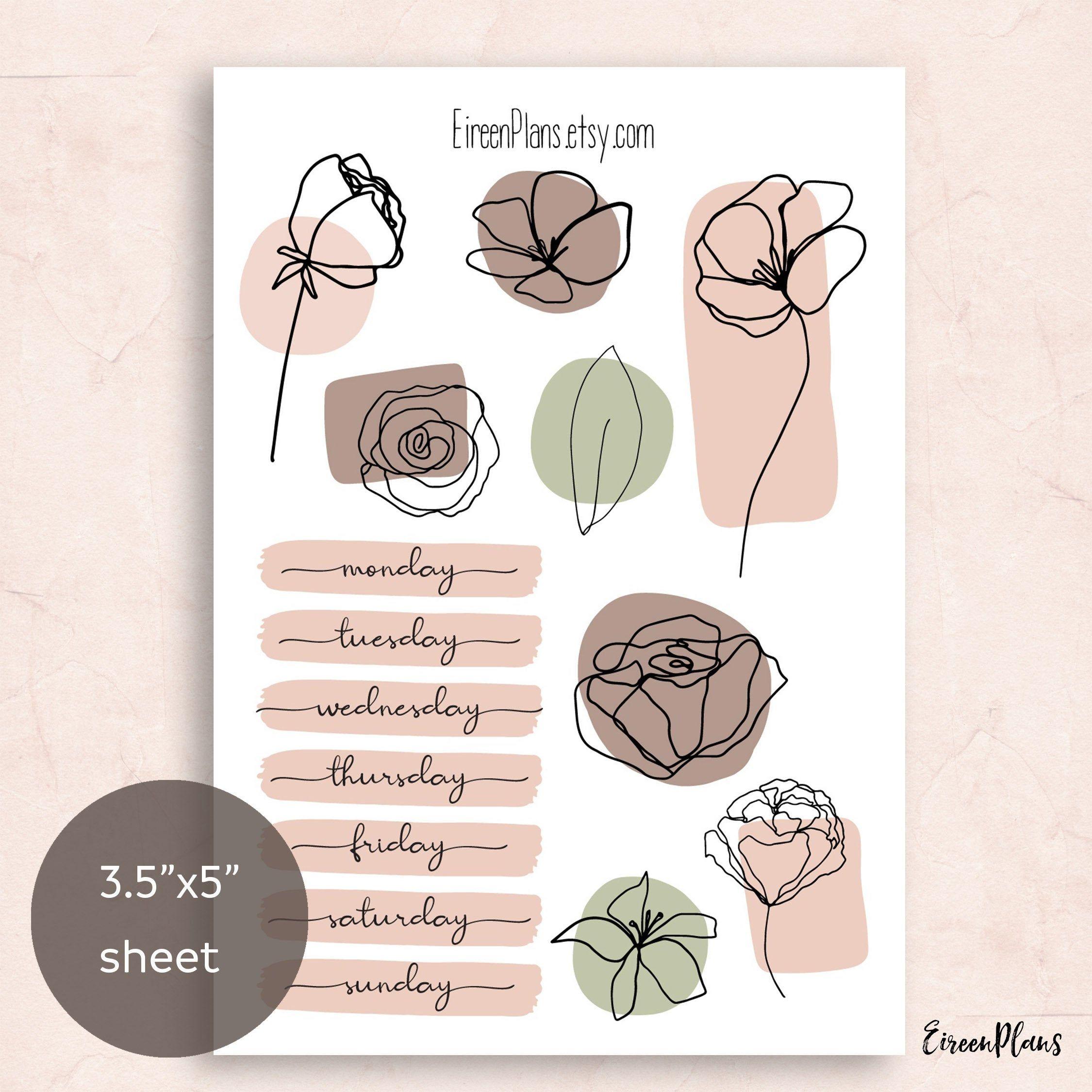 One Line Florals Planner Stickers, BuJo stickers, Journaling Stickers, Bullet Journal Planner Stickers, Mini Weekly Kit, Weekdays, Spring