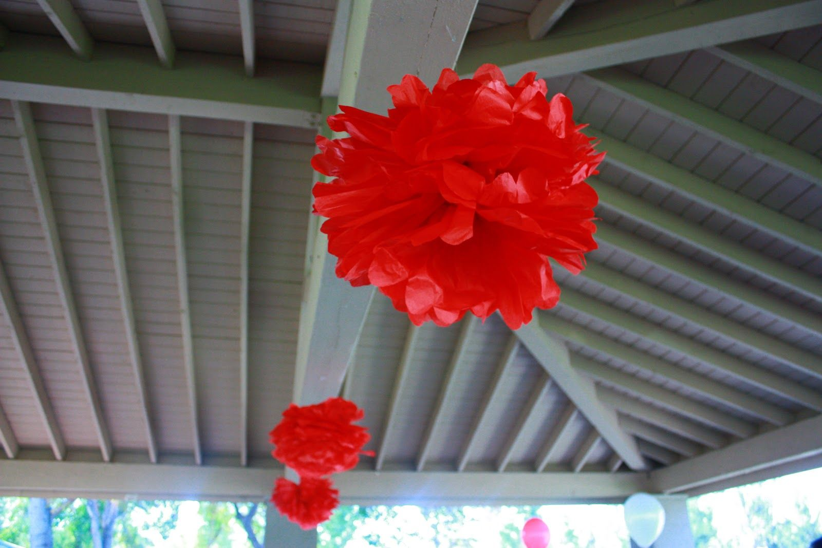 Lilly's 1st Birthday - teddy bear picnic themed!    Red tissue pom poms from the ceiling!    http://macdonaldsplayland.blogspot.com/2012/11/lillys-1st-birthday-party-teddy-bear.html