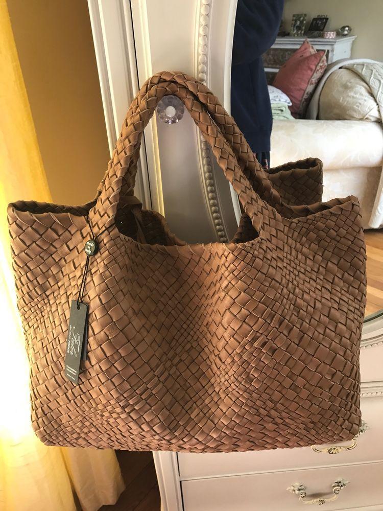 FALOR Firenze Woven Intrecciato CAMEL Leather X Large Tote Handbag Pouch  NWT #FALOR #TotesSatchelHobo